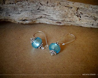 Ethnic earrings & clear turquoise Lampwork Glass Beads