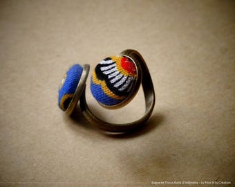 Ring adjustable Double traditional Indonesian Batik fabric