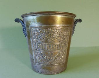 Antique French Champagne Bucket Yellow Copper - Cooler - Pol Narelly