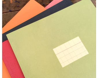 Large Green Notebook with French Grid Lined Paper Sheets