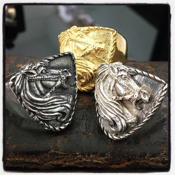 Etherial Jewelry - Rock Chic Talisman Luxury Biker Custom Handmade Pure Sterling Silver .925 Alexander the Great Battle Horse Bucefalas Ring