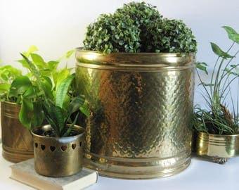 Large Solid Brass Planter - Vintage Brass Waste Basket - Made in Holland - Hammered Dot Design - Indoor Garden Tree Pot - Modern Home Decor