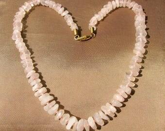 Pink Quartz Necklace Gemstone Jewelry, Hand knotted vintage rose quartz