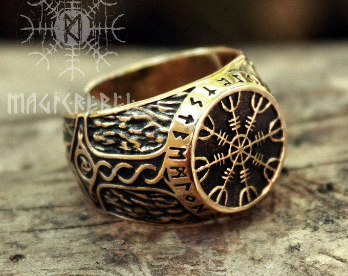 Bronze Helm of Awe Aegishjalmur Futhark Viking Magic Stave Runic Amulet Adjustable Size Ring