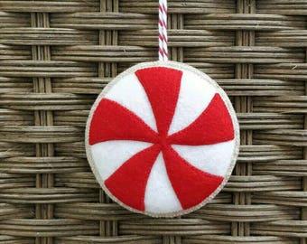 Peppermint twist christmas felt  ornament