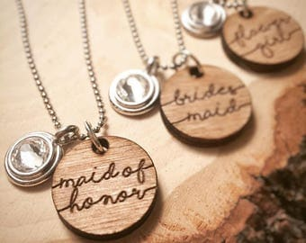 Set of 5 Engraved Bridal Party Rustic Wedding Necklace | Will you be my