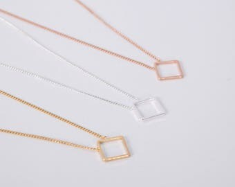 Rose Gold Or Silver Necklace Disc Rosegold Square Box Rosegolden Necklace Diamond Rhombus