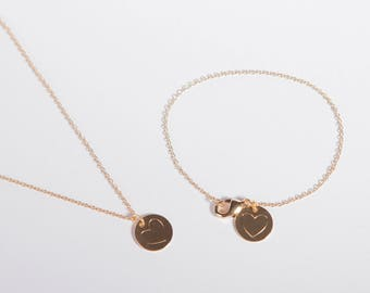 Set Gold Plated Bracelet And Necklace Gold Plated Necklace Coin Disc Heart Golden Ring