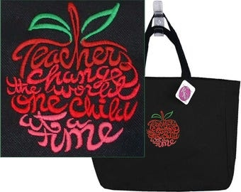 Teachers Change The World One Child At A Time Essential Tote Bag Appreciation Gift Monogram Custom Embroidered