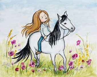Girl Riding Horse, Girls Wall Art, Children's Wall Art, Boho, Equestrian, Floral Painting, Kids Art, Girls Art, Print