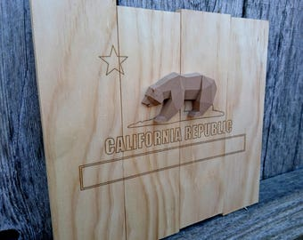 California Republic Bear Flag 3d Printed Grizzly Laser Engraved Finish Wall Hanging