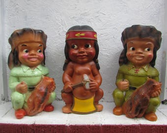 DUOUESNE STATUARY PITTSBURGH Pa. Copyright 1955. Three Chalkware Statues Listed Separately.  Buy One, Two or Three.  Vintage Childrens Banks