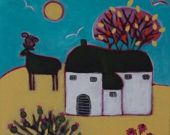 Folk Art Painting, Autumn Landscape, Naive Painting, Deer Animal Artwork, Primitive Art, Countryside, Rustic, Animal Art, Deer, Lyre