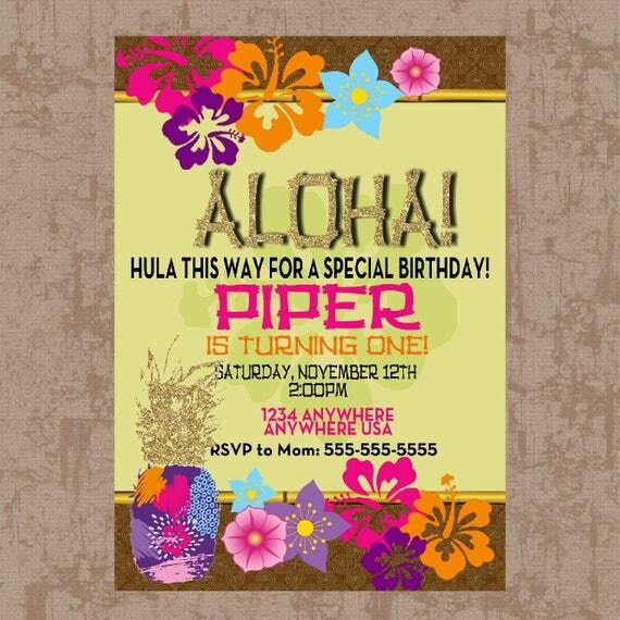 Luau Birthday Invitation Pineapple Luau Party Invitation Gold Luau