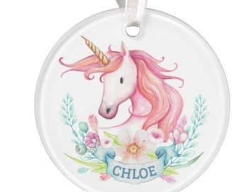 Unicorn Ornament, Unicorn Christmas Ornament, Unicorn, Unicorn Christmas Gift, Christmas Ornament, RyElle, Personalized Christmas Ornament