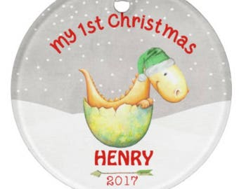 Boys Ornament, Christmas Ornament, Baby Ornament, Dinosaur Ornament, 1st Christmas Ornament, Boy Ornament, Baby Shower Gift, RyElle