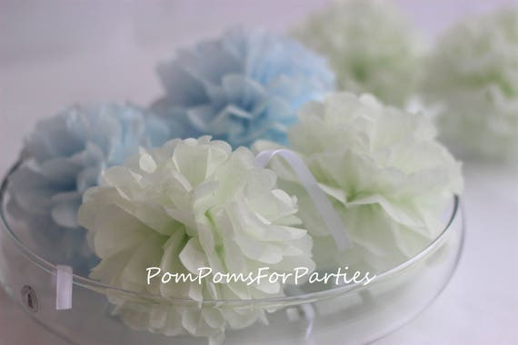12 Small Tissue Pom Poms Mint Sugarice Blue Collection Nursery
