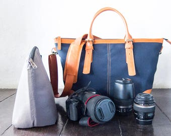 Dslr Camera Bag with Insert with shoulder strap - genuine Leather and canvas shoulder bag - tote bag - Leather with canvas - Navy Blue