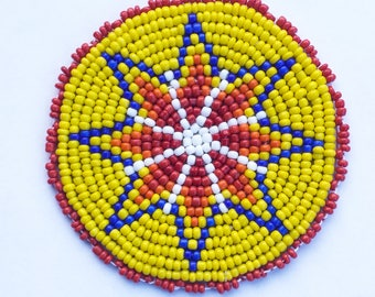 2 . 5 inch STAR YELLOW Beaded Rosette