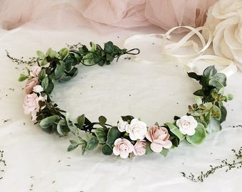 Pale pink crown Dusty rose flower crown Light green floral crown Pale pink Headband Blush pink crown Blush pink headband Festival flower cro