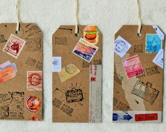 Set of Three Vintage Travel Inspired Tags