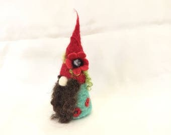 Needle felted gnome,red puppy flower gnome,meadow gnome