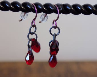 Pink Niobium Fishhook Red Swarovski Crystal Teardrop Earrings