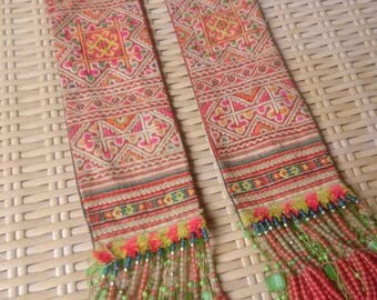 Vintage embroidered Tribal Hmong straps Ethnic Straps Fashion Patch frilly fringe