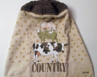 Country Crochet Top Hanging Kitchen Towel, Cow, Pig, Sheep, Rooster