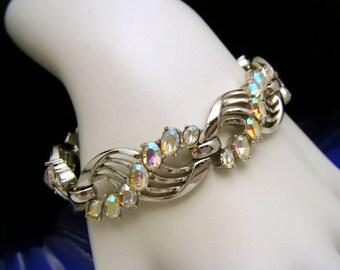 Vintage Crown Trifari Glowing AB Rhinestone Bracelet Silver Tone