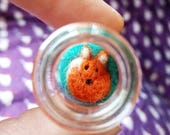 Curled up Felt Fox or Badger felted miniature in a tiny glass bottle