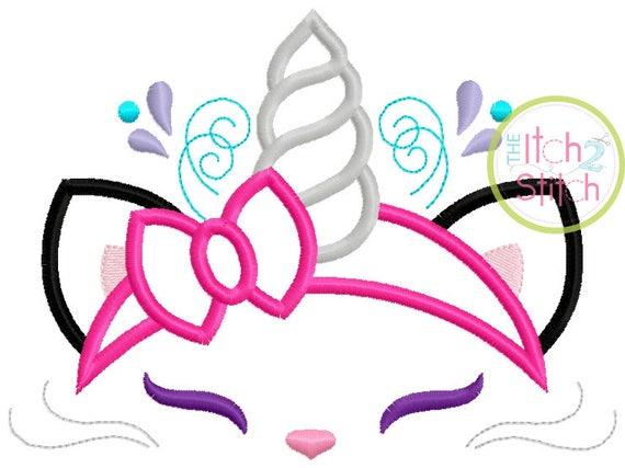 SAMPLE SALE, Kitty Cat Unicorn Embroidered Shirt - Unicorn Horn - Unicorn Face - Unicorn Eyelashes - Unicorn Birthday Shirt