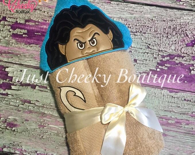 Polynesian Demi-God Inspired Hooded Towel - Moana Movie - Maui - Heart of Te Fiti - Moana Birthday Gift - Moana Party