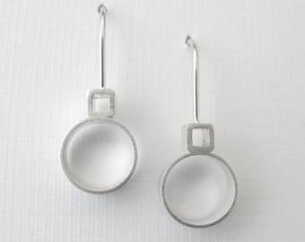 Mirjam Drop Earrings, Circle Square Earrings, Modern Earrings, Geometric Earrings, Geometric Jewelry, Sterling Silver, Shiny or Matte Finish