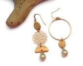 Mismatched earrings, Clip on earrings, Rose gold jewelry, Asymmetrical earrings, Modern earrings, Bridal jewelry, Geometric earrings, UD6