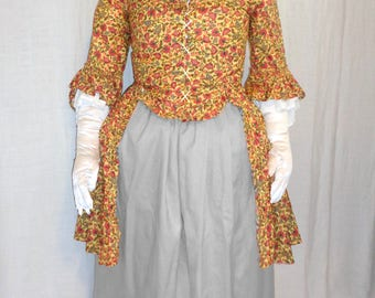 18th Century Lady's Yellow Floral Caraco Jacket