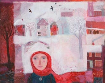 The Girl in The Red Scarf, limited edition giclee print on quality archival paper, signed and numbered