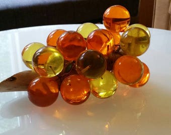 Vintage Lucite Grapes Orange and Yellow Mod colors