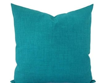 15% OFF SALE Two Solid Pillow Covers - Turquoise Pillows - Patio Pillow Covers - Outdoor Pillow Covers - Solid Throw Pillows - Blue Pillows