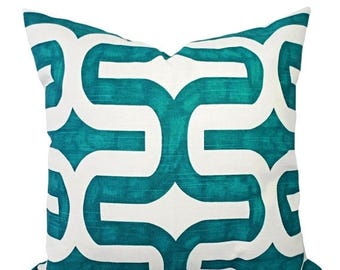 15% OFF SALE Turquoise Pillow Covers - Two Turquoise and White Throw Pillow Covers - 20 x 20 Pillow Cover - 18 x 18 Pillow Cover - Turquoise