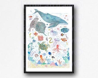 Under The Sea Watercolor Painting Whale Art Sea Creatures Nautical Print Fish Art Whales Illustration Bathroom Wall Art Wall Decor