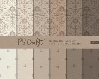 15% OFF Damask Craft Paper Digital Papers, Craft Paper Digital Paper, Damask Digital Paper Pack, Damask Backgrounds