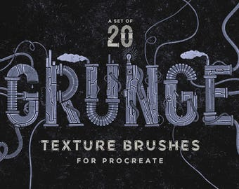 Set of 20 Grunge texture Procreate Brushes - For the iPad app Procreate - Digital brushes - Digital art resources