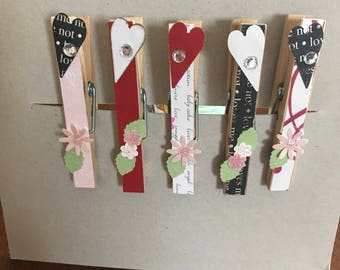 Love/Valentines clothes pin magnets