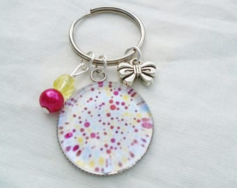 Keychain cabochon multicolor dots