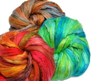 SALE Mulberry Silk varigated roving set of 3 colorways, hand dyed