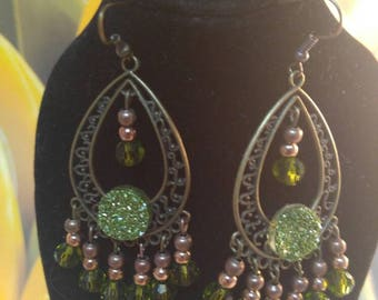 Art Deco style Antique Bronze peridot green swarovski Crystal chandelier earrings, free shipping in the USA