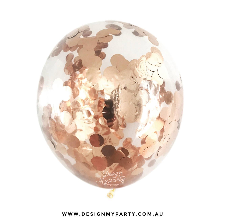 Rose Gold Copper: Rose Gold Confetti Balloon Copper Balloon Rose Gold Balloon