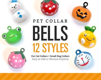 Cat Bell / Pet Collar Bells / Cat Collar Bell / Dog Bell / Pet Accessories / Cat Collar with Bell / Jingle Bell - 12 STYLES Fruit / Animals
