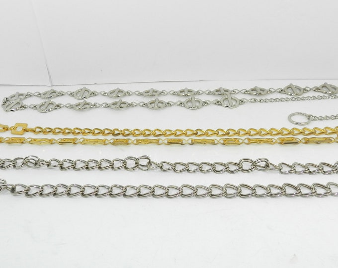 Vintage belt lot (3), Women Lady Fashion Accessories, Heavy Silver Gold Metal Adjustable Chain Links Belts One Size Fits Most S M L XL, Gift